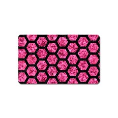 Hexagon2 Black Marble & Pink Marble (r) Magnet (name Card)