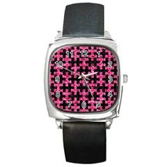PUZ1 BK-PK MARBLE Square Metal Watch