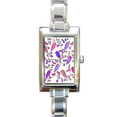 Flowers and birds pink Rectangle Italian Charm Watch