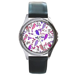 Flowers and birds pink Round Metal Watch