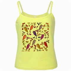 Flowers and birds pink Yellow Spaghetti Tank