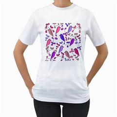 Flowers and birds pink Women s T-Shirt (White) (Two Sided)