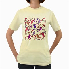 Flowers and birds pink Women s Yellow T-Shirt
