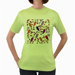 Flowers and birds pink Women s Green T-Shirt