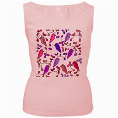 Flowers and birds pink Women s Pink Tank Top
