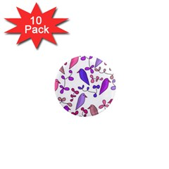 Flowers and birds pink 1  Mini Magnet (10 pack)