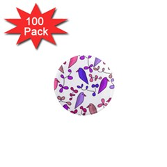 Flowers and birds pink 1  Mini Magnets (100 pack)