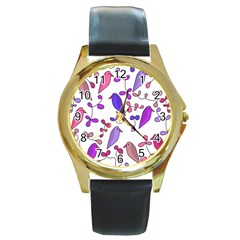 Flowers and birds pink Round Gold Metal Watch