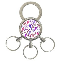 Flowers and birds pink 3-Ring Key Chains