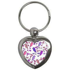 Flowers and birds pink Key Chains (Heart)