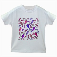 Flowers and birds pink Kids White T-Shirts