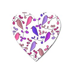 Flowers and birds pink Heart Magnet