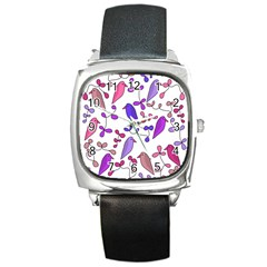 Flowers and birds pink Square Metal Watch