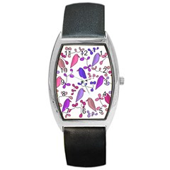 Flowers and birds pink Barrel Style Metal Watch