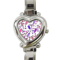 Flowers and birds pink Heart Italian Charm Watch