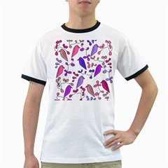 Flowers and birds pink Ringer T-Shirts