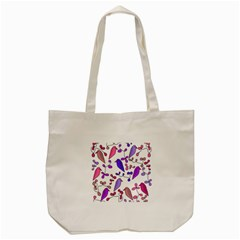 Flowers and birds pink Tote Bag (Cream)