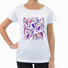 Flowers and birds pink Women s Loose-Fit T-Shirt (White)