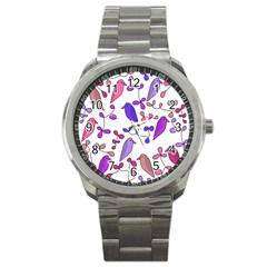 Flowers and birds pink Sport Metal Watch