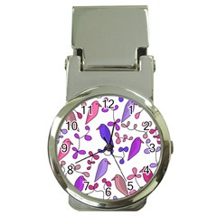 Flowers and birds pink Money Clip Watches