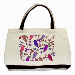 Flowers and birds pink Basic Tote Bag