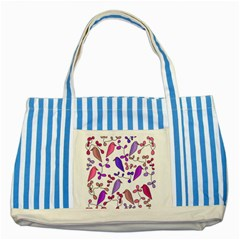 Flowers and birds pink Striped Blue Tote Bag