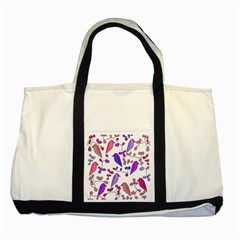 Flowers and birds pink Two Tone Tote Bag