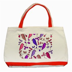 Flowers and birds pink Classic Tote Bag (Red)