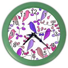 Flowers and birds pink Color Wall Clocks