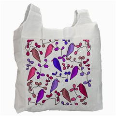 Flowers and birds pink Recycle Bag (Two Side)