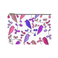 Flowers and birds pink Cosmetic Bag (Large)