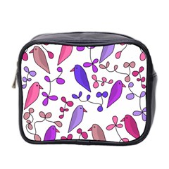 Flowers and birds pink Mini Toiletries Bag 2-Side
