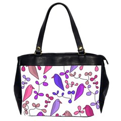 Flowers and birds pink Office Handbags (2 Sides)