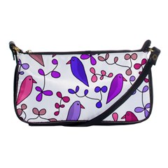 Flowers and birds pink Shoulder Clutch Bags