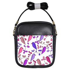 Flowers and birds pink Girls Sling Bags