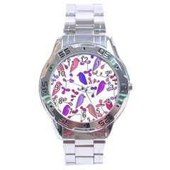 Flowers and birds pink Stainless Steel Analogue Watch