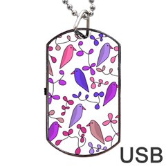 Flowers and birds pink Dog Tag USB Flash (Two Sides)