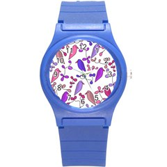 Flowers and birds pink Round Plastic Sport Watch (S)
