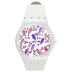 Flowers and birds pink Round Plastic Sport Watch (M)