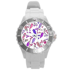 Flowers and birds pink Round Plastic Sport Watch (L)