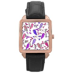 Flowers and birds pink Rose Gold Leather Watch
