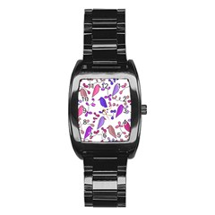 Flowers and birds pink Stainless Steel Barrel Watch