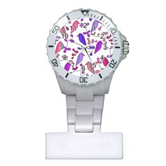 Flowers and birds pink Plastic Nurses Watch