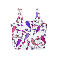 Flowers and birds pink Full Print Recycle Bags (S)