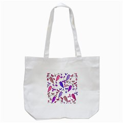 Flowers and birds pink Tote Bag (White)