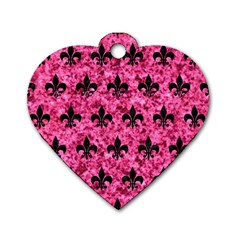 RYL1 BK-PK MARBLE Dog Tag Heart (One Side)