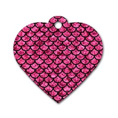 SCA1 BK-PK MARBLE (R) Dog Tag Heart (Two Sides)