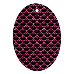 Scales3 Black Marble & Pink Marble Ornament (oval)