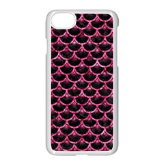 Scales3 Black Marble & Pink Marble Apple Iphone 7 Seamless Case (white)