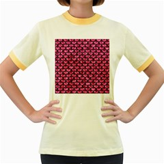 SCA3 BK-PK MARBLE (R) Women s Fitted Ringer T-Shirts